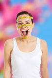 Woman screaming with a measure on her face. Screaming woman with a measure on her face Stock Image