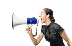 Woman screaming Stock Images