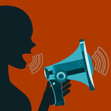 Woman screaming in megaphone. Agitation, demonstration. Propaganda. Speech at the rally vector illustration