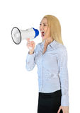Woman screaming at megaphone. Isolated woman scream with loudspeaker Stock Photography