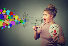 Woman screaming in megaphone Royalty Free Stock Photos