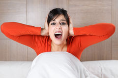 Woman screaming night Royalty Free Stock Images