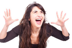 Woman screaming with open arms Royalty Free Stock Photography