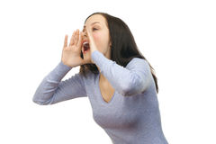 Woman screaming out loud Stock Photos