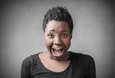Woman screaming out loud Stock Photography