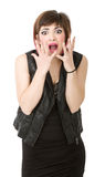 Woman screaming. Person emotions and expressions portrait Royalty Free Stock Image