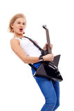 Woman screaming while playing Royalty Free Stock Photos