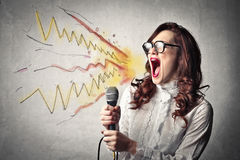 Woman screaming and shouting Stock Photo