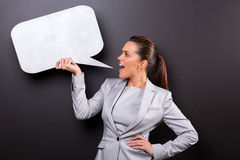 Woman screaming speech bubble Stock Images