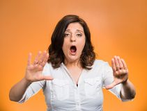 Woman screaming stop no Royalty Free Stock Photos