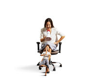 Woman screaming at tired small quiet woman Stock Images