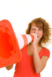 Woman screaming in traffic cone Royalty Free Stock Photos