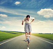 Woman screaming at yoga woman on the road Stock Image