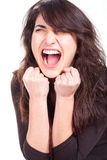 Woman screams and showing her fists Royalty Free Stock Images