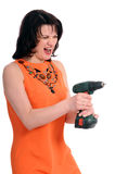 Woman with screwdriver Stock Image