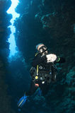 Woman scuba dive in underwater canyon Stock Image