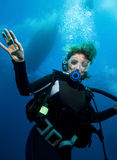Woman scuba diver Stock Photos