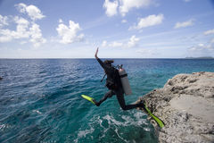Woman scuba diver, Bonaire Royalty Free Stock Photos