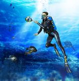 Woman Scuba Diver Encounter Fish. 3D render of a female scuba diver with digital painting encounters friendly fish during her  ascend from her dive Royalty Free Stock Photos