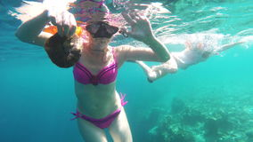Woman scuba diver stock video footage