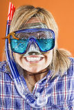Woman with scuba mask,  snorkel and starfish Stock Photos