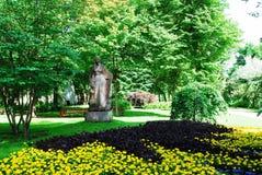 Woman sculpture in a beatiful Druskininkai city. Lithuania stock photos