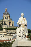 Woman sculpture in the city center and  view of the Temple Christ the King in Messina, Sicily Stock Image