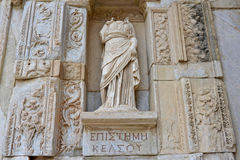 Woman sculpture fragment - Celsus Library in Ephesus Stock Photography