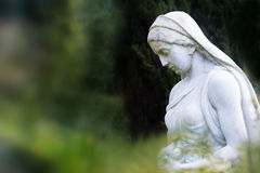 Woman sculpture with rose basket made of marble in a park or cem Royalty Free Stock Photos