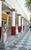 Woman Sculpture. Sculptured Greek influenced figures in the gardens of the Achillion Palace which is now a museum on the island of Corfu Stock Images
