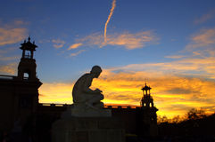 Woman sculpture and towers,Barcelona Stock Photos