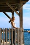 Woman at sea royalty free stock image