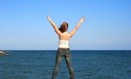 Woman at sea royalty free stock photos