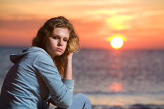 Woman by the sea Stock Photos