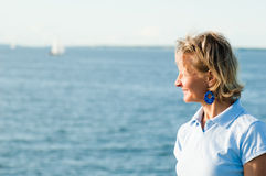 The woman and the sea Royalty Free Stock Photography