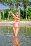 Woman in the sea Royalty Free Stock Photo