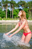 Woman in the sea Royalty Free Stock Images