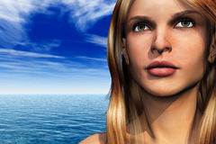 Woman with sea Royalty Free Stock Images