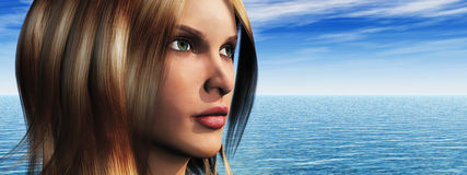 Woman with sea Royalty Free Stock Image