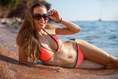 Woman&sea Stockfotos