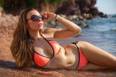 Woman&sea Stockbild