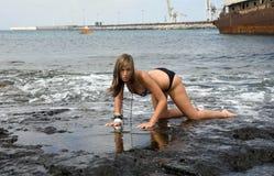 Woman on the sea Stock Photo