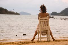 Woman by the sea Royalty Free Stock Photos