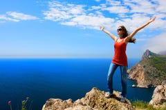 Woman Sea And Mountain Royalty Free Stock Photo