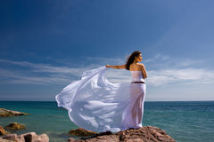 Woman and sea beach Stock Images