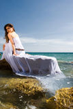 Woman and sea beach Royalty Free Stock Photos