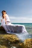 Woman and sea beach Royalty Free Stock Photos