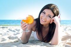 Woman at sea beach Royalty Free Stock Photography