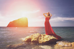 Woman and sea beach Royalty Free Stock Image