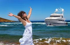 Woman and the sea royalty free stock image